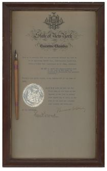 Pen Used To Sign Senate Bill 216 Into Law Framed With A Signed Statement From Ny Governor Dewey