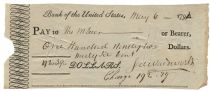 Bank of United States Check signed Jeremiah Wadsworth