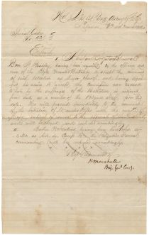 A Scarce War Date Cavalry Order Signed By Confederate General Humphrey Marshall