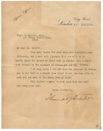 Thomas Lipton Type Letter Signed