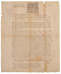 An Early Provincial Broadside Signed by Treasurer Harrison Gray