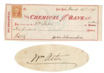 Check Signed By William Astor And His Sister-in-law Helen Schermerhorn