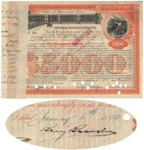 A Chicago, Rock Island And Pacific Bond Issued To And Signed By Standard Oil's Benjamin Brewster