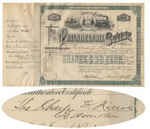 """""""The Father Of Root Beer"""" Charles Hires Signed Philadelphia Bourse Stock"""
