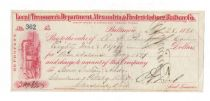Check Issued By The Baltimore Office Of The Alexandria & Fredericksburg Railway Co.