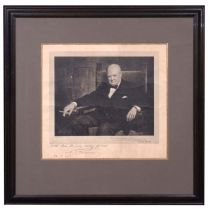 Framed Wartime Print of Winston Churchill Signed By The Artist, Arthur Pan