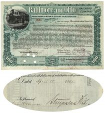 B & O Railroad Stock Certificate Issued to and Signed by Stuyvesant Fish