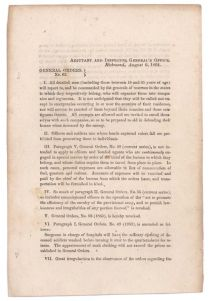 Confederate Imprint: General Orders Detailing The Disposition Of Dead Soldiers Clothing