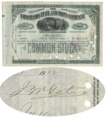 Colorado Fuel & Iron Company Signed by John W. �Bet a Million� Gates