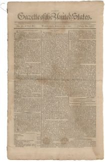 Gazette of the United States with an Advertisement of Early Stock Brokerage Firm Pintard & Bleecker