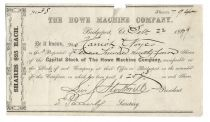 A Rare Early Stock Certificate of The Howe Machine Company Stock Signed by Elias Howe's Early Partner and Son-In-Law Levi S. Stockwell