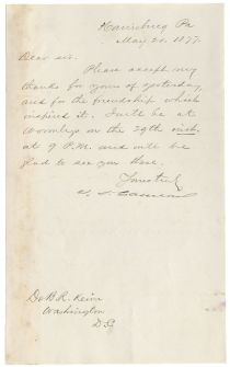 Pennsylvania Senator James D. Cameron Letter Signed
