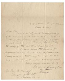 Boston Mayor Josiah Quincy, Jr. Writes Of An Upcoming Visit By President Polk