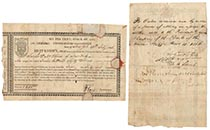 A RARE BOND ISSUED DURING THE WAR OF 1812 ENDORSED BY JOHN JACOB ASTOR
