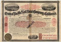 A Very Rare Central Pacific Railroad Company Bond Signed By Leland Stanford And D. Ogden Mills