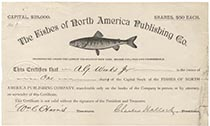 Fishes of North America Publishing Company Stock Signed By Charles Hallock, Founder of Forest and Stream Which Later Merged With Field And Stream Magazine