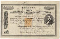 A Very Scarce Zion Co-operative Mercantile Institution Stock Certificate Signed As President By Brigham Young