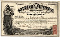 An Important Western Mining Stock Sutro Tunnel Company Issued To E. Erlanger & Company, The Company That Arranged The Famous Erlanger Loan To The Confederate States During The Civil War