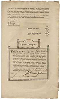 Asylum Company Stock Certificate Signed by Robert Morris and John Nicholson