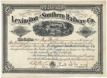Lexington & Southern RW Company Stock Issued To And Endorsed On Verso By Jay Gould