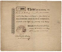 AN EARLY BALTIMORE INSURANCE COMPANY STOCK CERTIFICATE