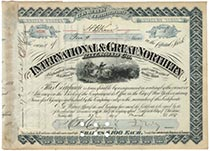 International & Great Northern RR Company Stock Signed As President By Jay Gould