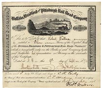 Buffalo, Bradford & Pittsburgh RR Company Stock Signed as President by Jay Gould