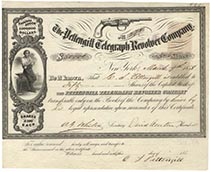 Pettengill Telegraph Revolver Company Stock Issued To And Signed By C. S. Pettengill