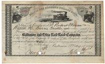 Baltimore & Ohio RR Company Stock Issued To And Signed By J. Pierpont Morgan