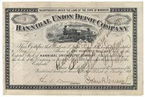 Hannibal Union Depot Company Endorsed On Verso As President Of The Company By Jay Gould