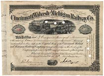 Cincinnati,Wabash & Michigan Railway Company Stock Issued To And Signed On Verso By J. Pierpont Morgan