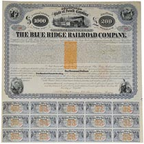 Blue Ridge Railroad Company Bond Signed By Henry Clews
