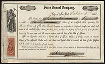 A Scarce Sutro Tunnel Company Stock Certificate Signed by Adolph Sutro