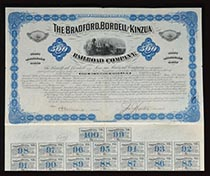 Bradford, Bordell & Kinzua RR Co.  bond