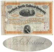 Northern Pacific Railroad Stock Issued To And Signed On Verso By Charles F. Adams