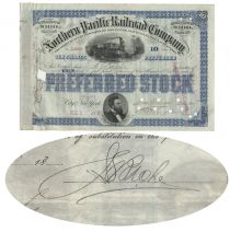 Northern Pacific Railroad Stock Issued To And Signed By Jules Bache