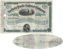 Northern Pacific Railroad Stock Issued To And Signed On Verso By Frederick Billings