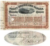 Puget Sound And Alaska Steamship Stock Issued To And Signed On Verso By Legendary Financier Henry Villard