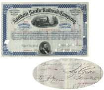 Northern Pacific Railroad Stock Issued To And Signed On Verso By Jay Cooke, Trustee