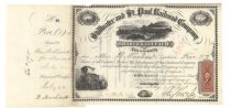 Stillwater And St. Paul Railroad Co. Stock Signed As President By Jay Cooke, Jr.