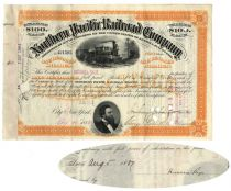 Northern Pacific Railroad Stock Issued To And Signed On Verso By Russell Sage