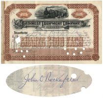 Northwest Equipment Company Stock Issued To And Signed On Verso By John D. Rockefeller