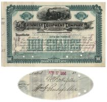 Northwest Equipment Company Stock Issued To And Signed On Verso By William Rockefeller And Witnessed By William G. Rockefeller, A Nice Association
