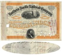 Northern Pacific Railroad Stock Issued To And Signed On Verso By Thomas F. Oakes
