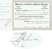 Jamestown And Northern Railroad Stock Issued To And Signed By William Nelson Cromwell