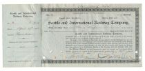 A Rare Issued Seattle And International Railway Company Stock Signed By Charles S. Mellen