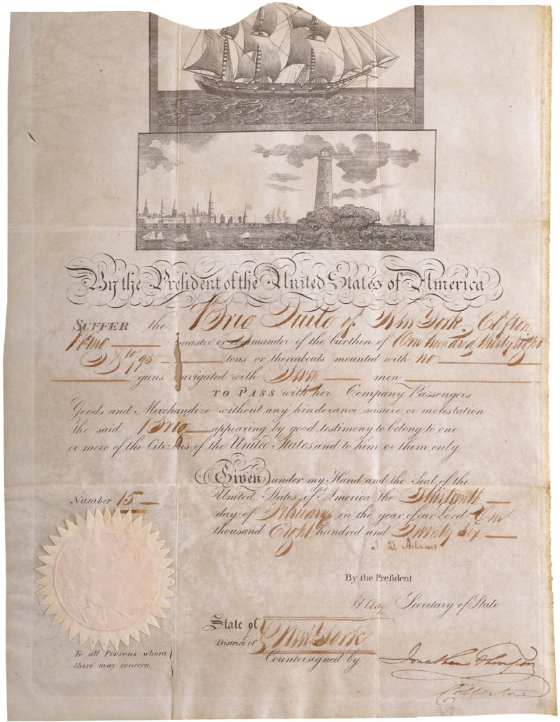 John Quincy Adams and Henry Clay Signed Ship's Passport For the Brig Quito