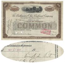 B & O Railroad Stock Certificate Issued To And Endorsed On Verso By Pierre S. DuPont