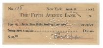 Rupert Hughes Signed Bank Check