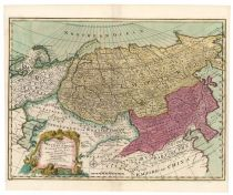 A Highly Attractive And Colorful Hand-colored Map Of The Russian Empire By Emanuel Bowen